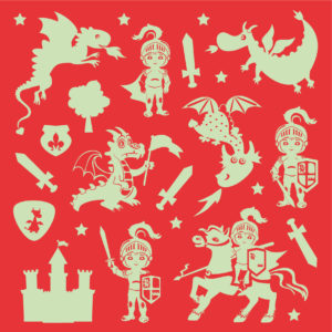 Page stickers phosphorescents dragons et chevaliers