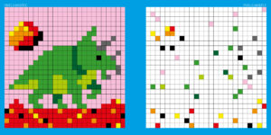Dble page Pixel Dinosaures