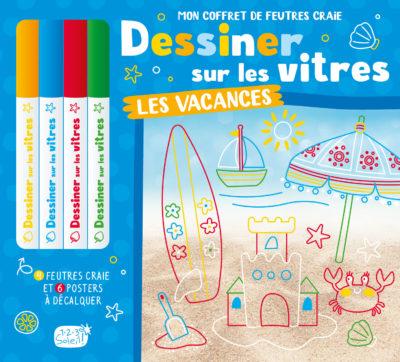 Coffret crayons 4 couleurs - Dessiner sur les vitres - Les vacances